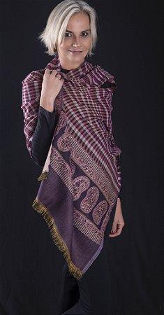 Pashmina lã da Kashmira Paisley xadrês em tons de vinho
