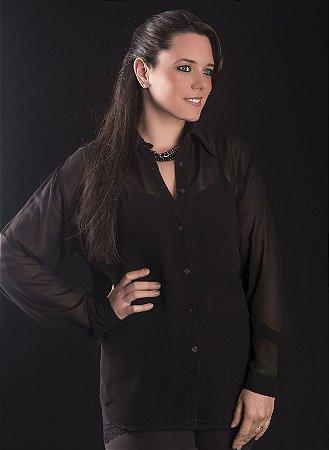 Camisa Plus Size Georgette Preta