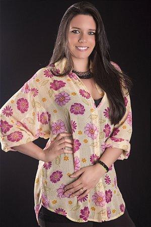 Camisa Plus Size Georgette Amarela com Flores Pink