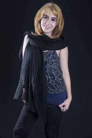 Pashmina preta lã kashmira barras bordadas