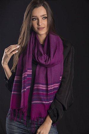 Pashmina lã da Kashmira roxa barra com listras