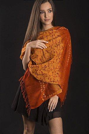 Pashmina jamawar taie dye tons de laranja