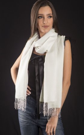 Echarpe de seda pura off white