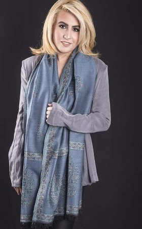Pashmina 100% Lã da kashmira Jackard Azul Petróleo
