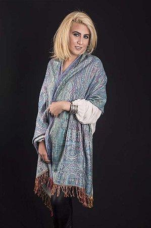 Pashmina adamascada e plissada de viscose tons de turquesa