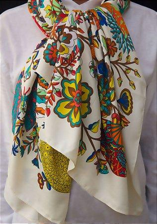 Lenço grande 100% seda estampa colorida