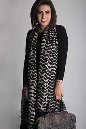 pashmina 100% lã da Kashmira estampa zig zag black and white