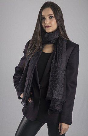 Pashmina preta lã brocada com seda