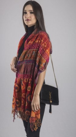 Pashmina 100% Lã da Kashmira Bordado Colorido Artesanal