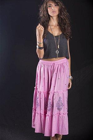 Saia rosa com print azul e bordado lantejoulas