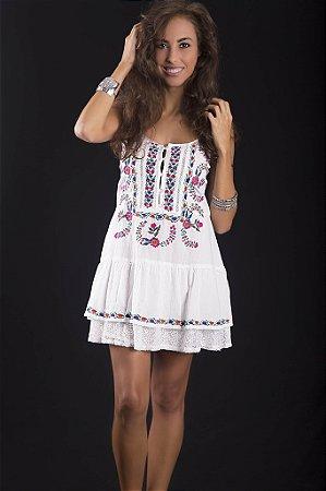 Mini Vestido Bordado Folk