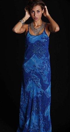 Vestido azul royal crepe georgete