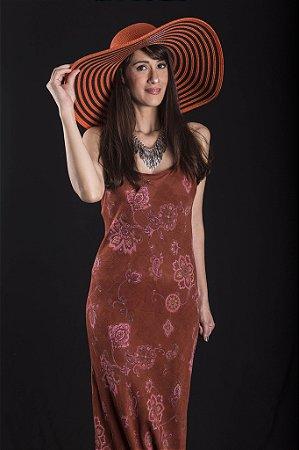 Vestido cor telha flores rosê crepe georgete