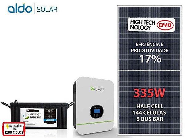 Kit Gerador de Energia Solar 3KVA - Armazenamento de Energia