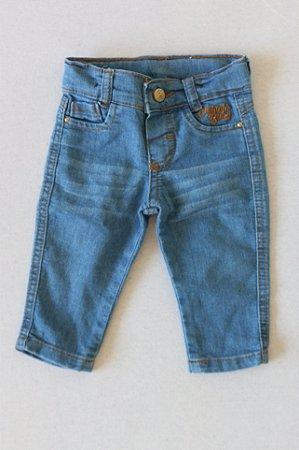 Calça Jeans Molinha com Detalhes em Pedraria nos Bolsos - 3-6 Meses