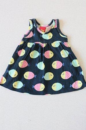 Vestido KYLY com Estampa de Peixinhos - Tamanho P