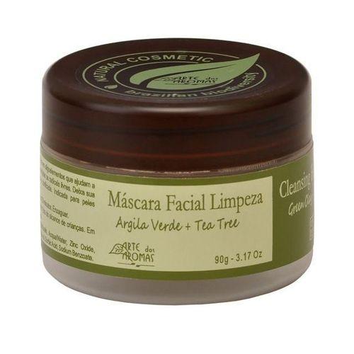 Máscara Facial de Limpeza Natural Argila Verde e Tea Tree 90g   Arte dos Aromas