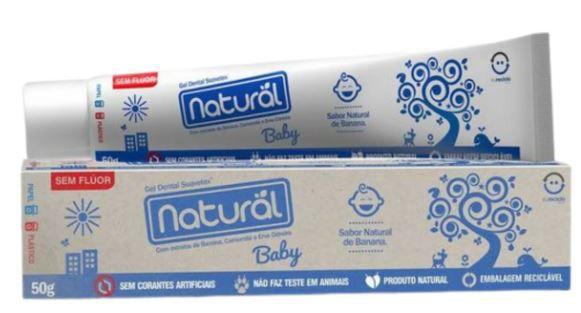 Gel Dental Natural Baby com Extratos de Banana e Erva Cidreira 50g   Natural Suavetex