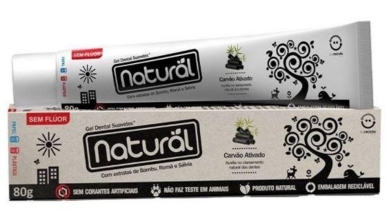 Creme Dental (Gel) Carvão Ativado 80g | Natural Suavetex