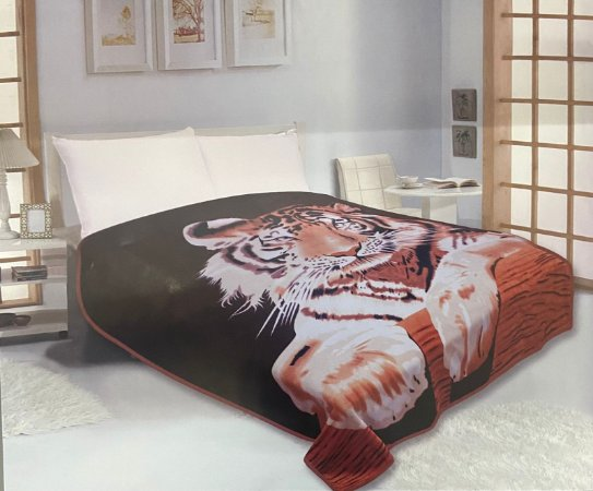 Cobertor Duplo Super Soft Solteiro 640g/m² Tigre - Realce Top Sultan