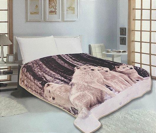 Cobertor Duplo Super Soft Solteiro 640g/m² Lobos Brancos - Realce Top Sultan