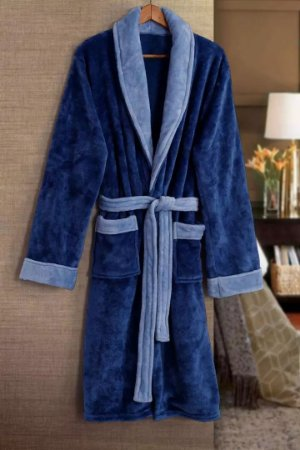 Roupão De Banho Paris Azul Flannel Tamir
