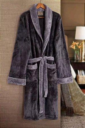 Roupão De Banho Paris Cinza Flannel Tamir