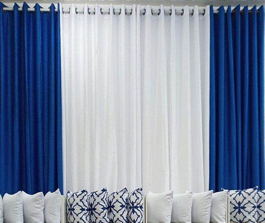 Cortina Cetim amassado Composê 4,00 x 2,50 - Branco e Azul