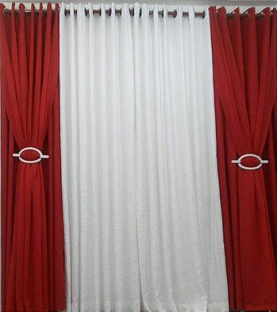 Cortina Vermelha voal com forro, Branca tecido plissado 4,00 x 2,50 - branco e vermelho