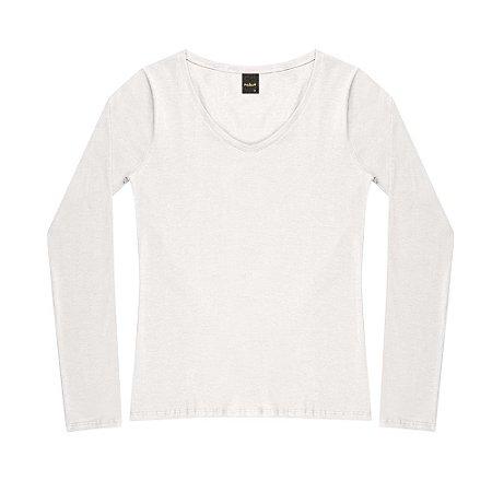 """Blusa Decote """"V"""" Cotton Oui.la.vie Branca"""