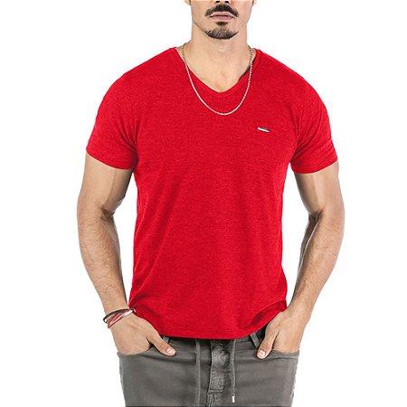 """Camiseta Flamê Decote """"V"""" Plaquinha No Stress Vermelha"""