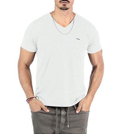 """Camiseta Flamê Decote """"V"""" Plaquinha No Stress Branca"""