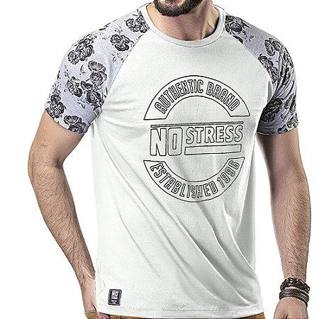 Camiseta Raglan Floral No Stress Branco/Mescla