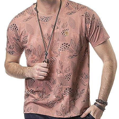 Camiseta Estampa Floral No Stress Salmão