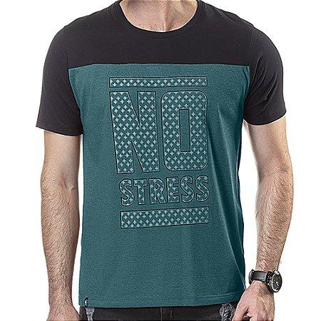 Camiseta Recorte Estampa Frontal No Stress Azul