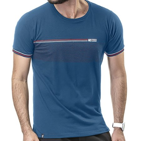 Camiseta Retilínea Estampa No Stress Azul