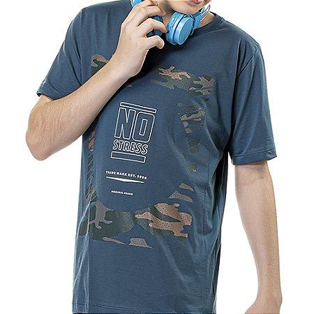 Camiseta Estampa Militar Frontal Menino No Stress Azul