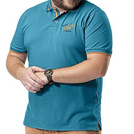 Camisa Polo Piquet Bordado Plus TZE Azul