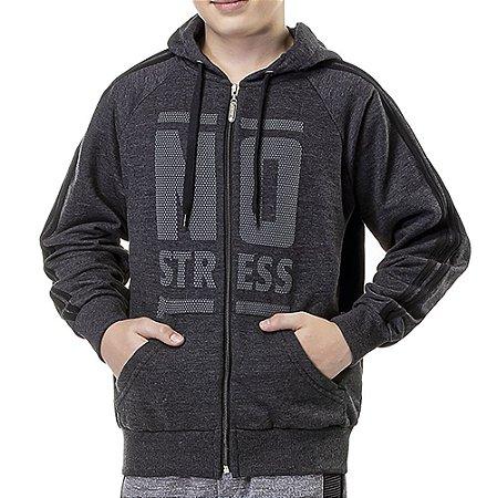 Moletom Aberto Capuz Menino Logo No Stress Mescla Escuro