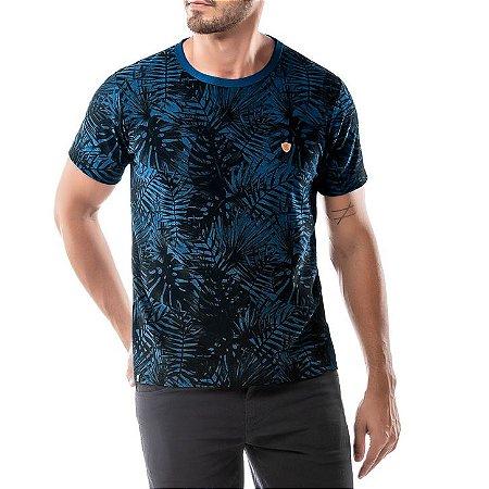 Camiseta Estampa Floral No Stress Azul