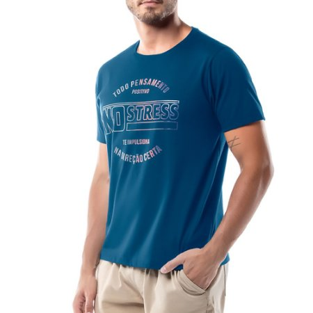 Camiseta Estampa Logo No Stress Azul