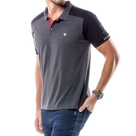 Camisa Polo Recorte Ombros No Stress Mescla Escuro