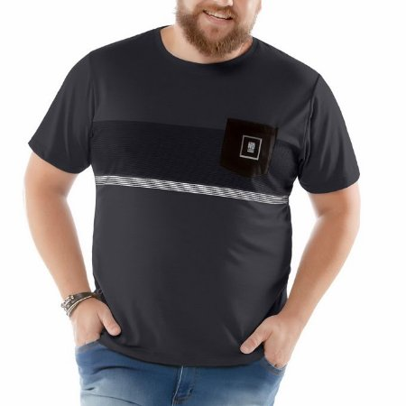 Camiseta Estampa Listras e Bolso Plus No Stress Cinza