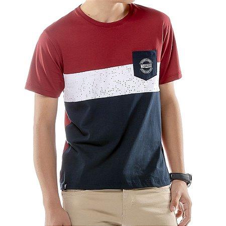 Camiseta Recortes e Bolso Menino No Stress Vermelha