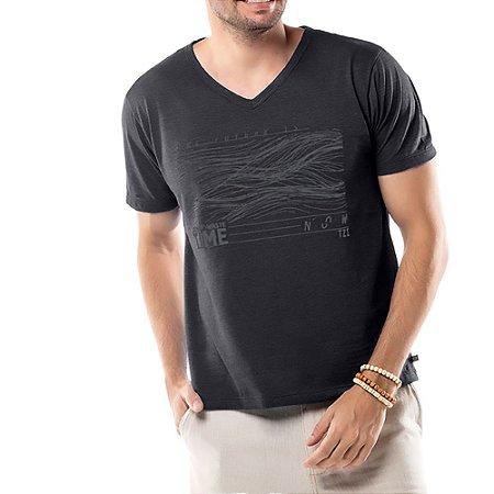 Camiseta Estampa Linhas TZE Mescla Escuro
