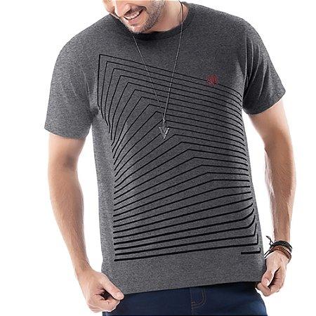Camiseta Estampa Gel Geométrica TZE Mescla Escuro