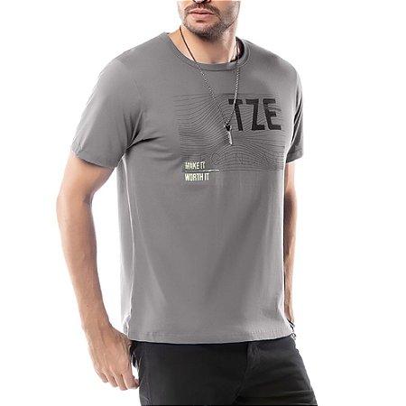 Camiseta Estampa Listras TZE Cinza