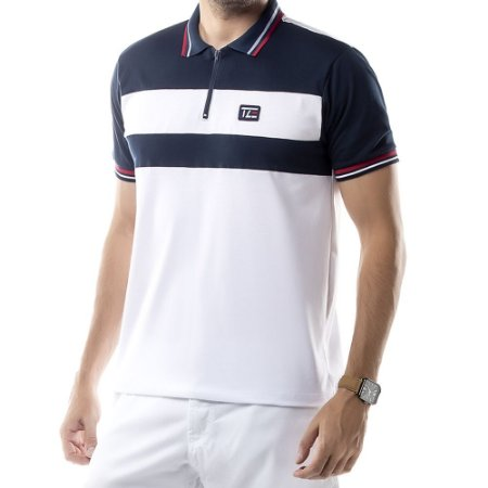 Camisa Polo Recortes e Zíper TZE Branca
