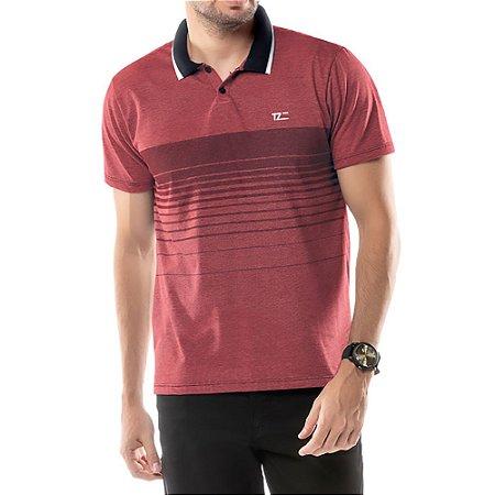 Camisa Polo Estampa Listras TZE Vermelha