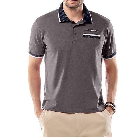 Camisa Polo Bolso Retilínea Jacquard TZE Cinza